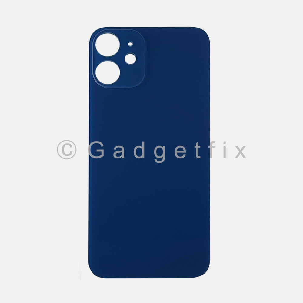 Blue Back Cover Glass for iPhone 12 MINI with Large Camera Hole