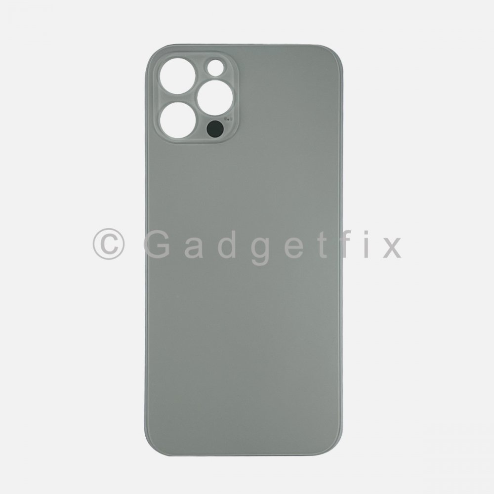Silver Back Cover Glass for iPhone 12 PRO with Large Camera Hole