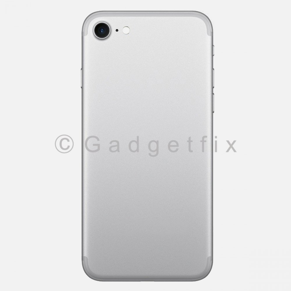 Silver Battery Back Door Cover + Camera Lens + Buttons + Sim Tray For Iphone 7