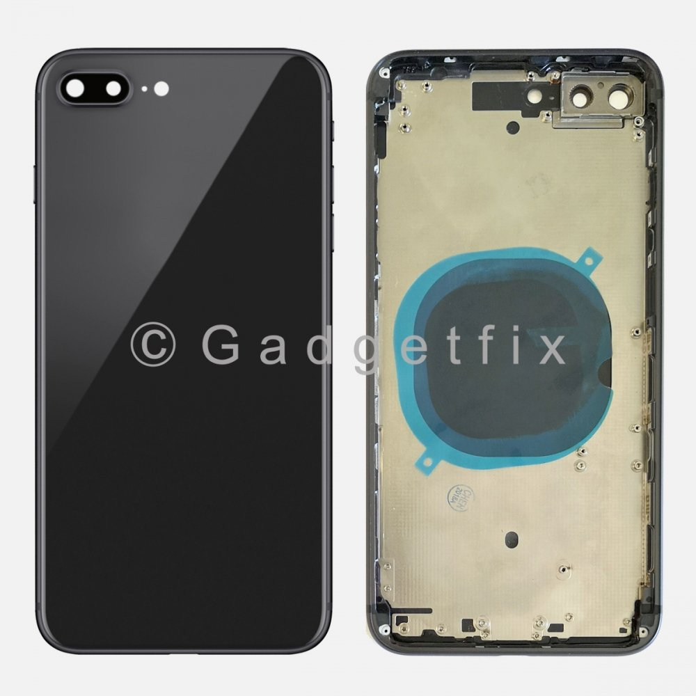Battery Back Glass Door + Mid Frame + Camera Lens + Buttons + Sim Tray For Iphone 8 Plus