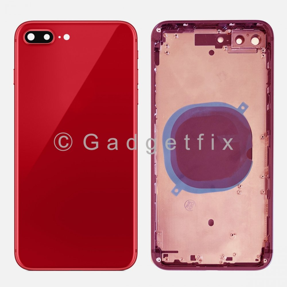 Red Battery Back Glass Door + Mid Frame + Camera Lens + Buttons + Sim Tray For Iphone 8 Plus