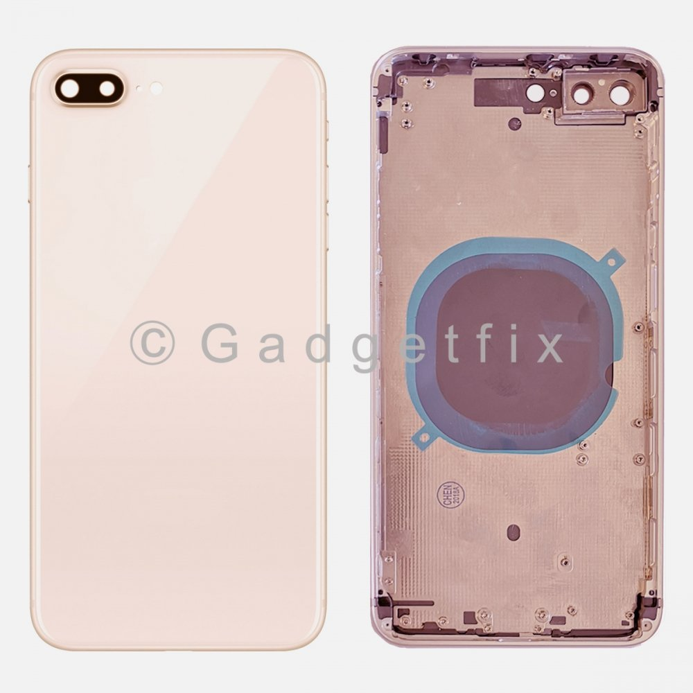 Rose Gold Battery Back Glass Door + Mid Frame + Camera Lens + Buttons + Sim Tray For Iphone 8 Plus