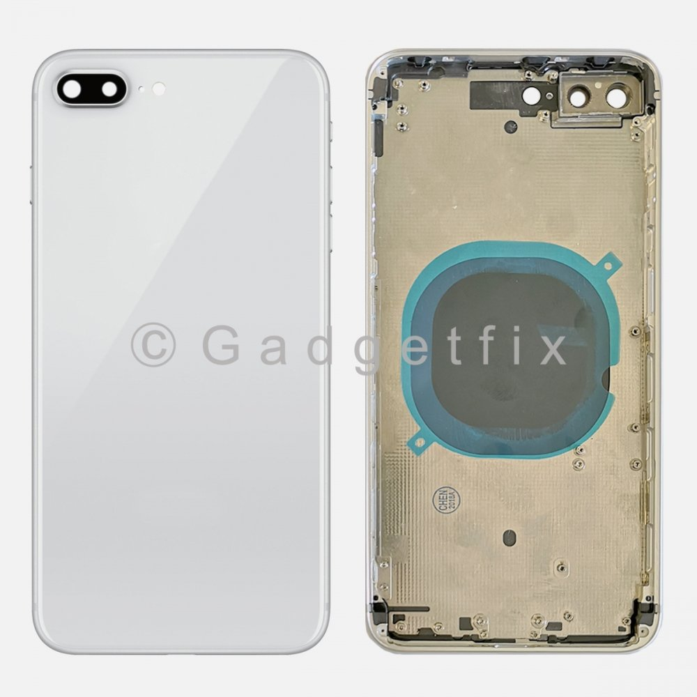 Silver Battery Back Glass Door + Mid Frame + Camera Lens + Buttons + Sim Tray For Iphone 8 Plus