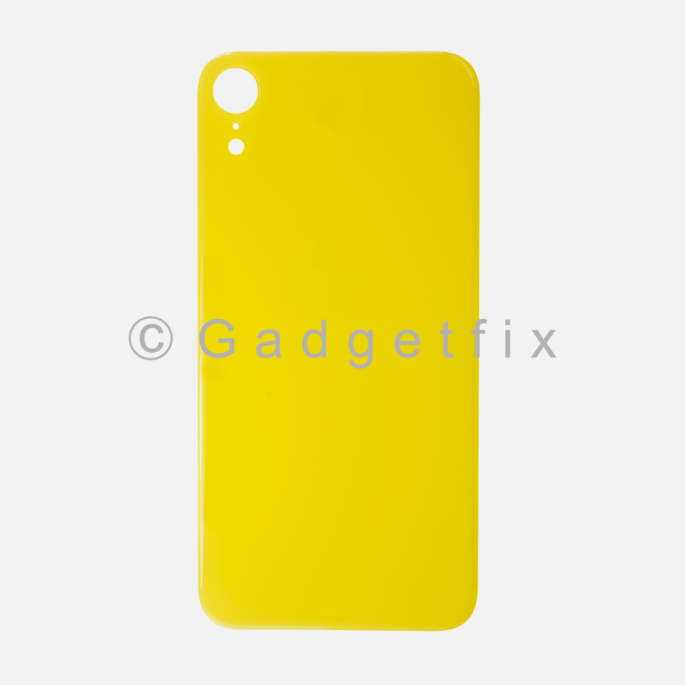 Yellow Rear Back Cover Battery Door Glass For Iphone XR (Large Camera Hole)