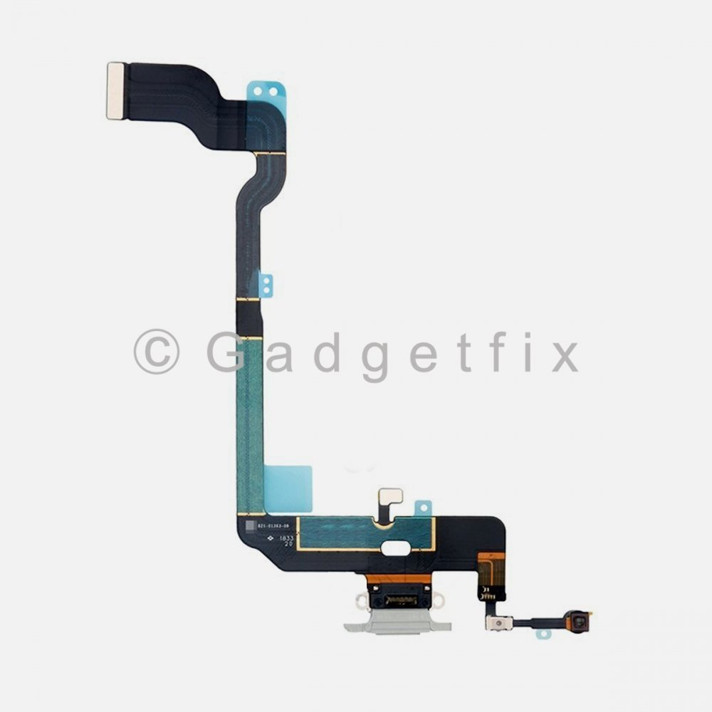 Silver Lighting Charger Charging Port Dock Connector Flex Cable + Mic For Iphone Xs