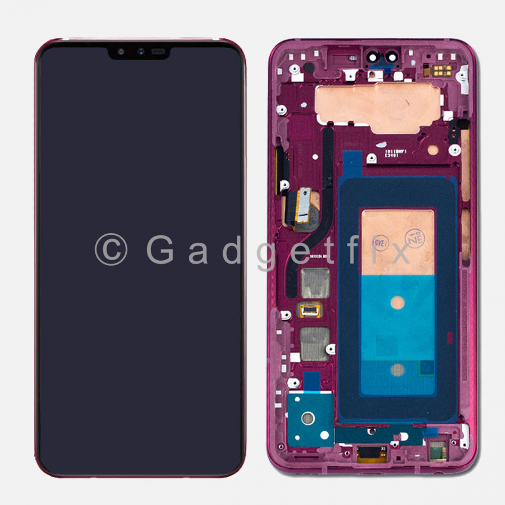 Red OLED LCD Display Touch Screen Digitizer Assembly w/ Frame For LG V40 ThinQ