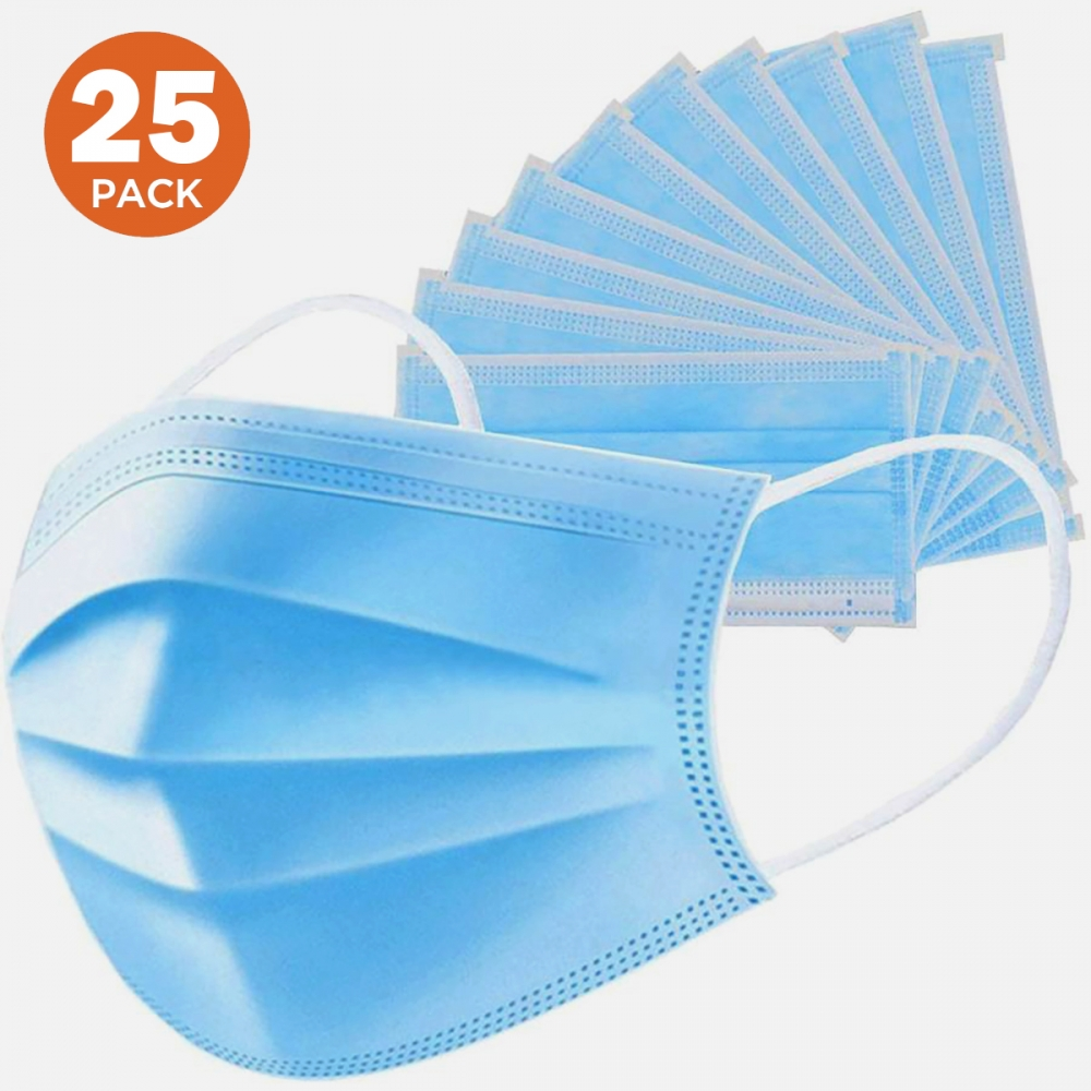 25 Pack Surgical 3 Ply Disposable Face Masks with Elastic Ear Loop Breathable