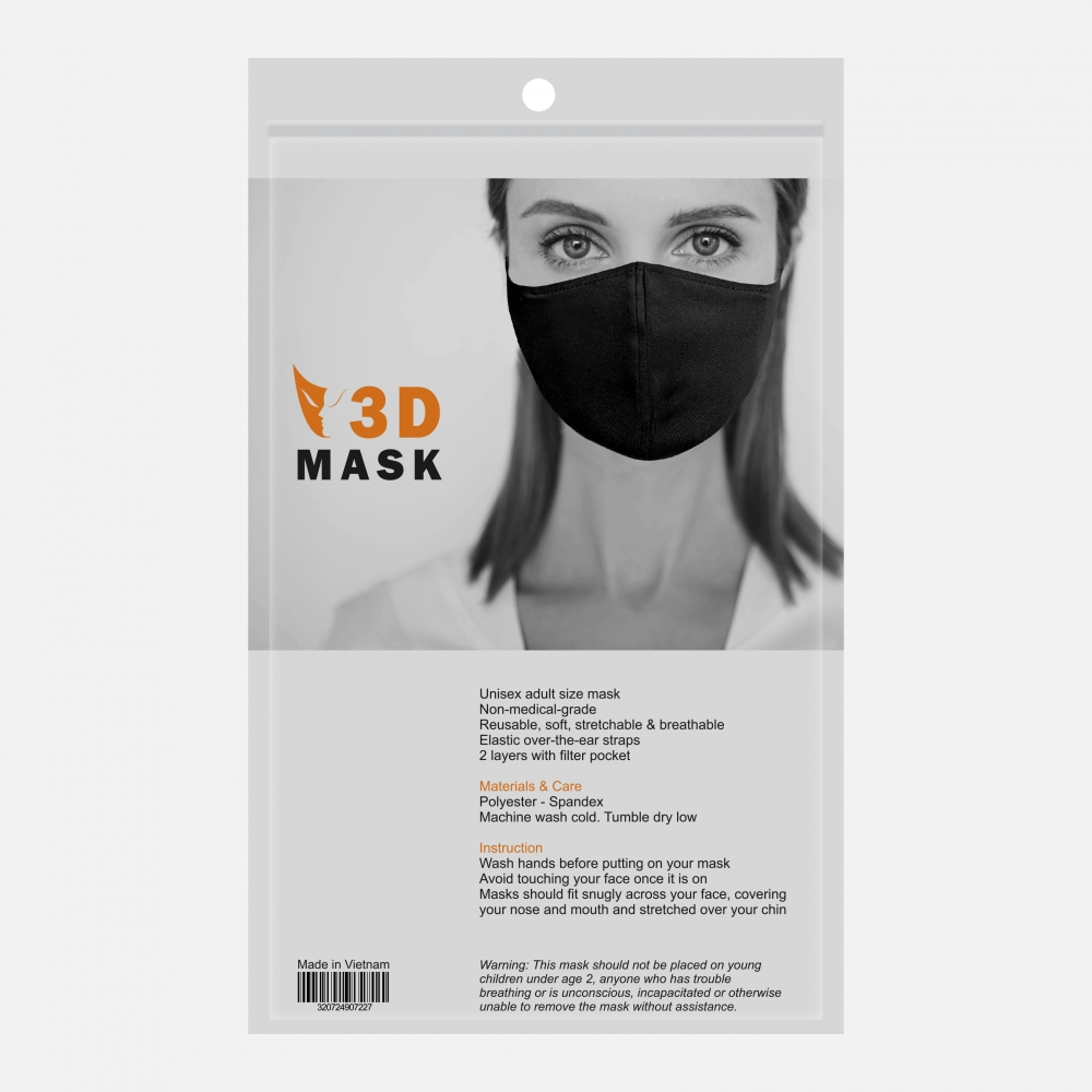 Reusable 2 Layers Polyester-Spandex Cloth Face Mask w/ Filter Pocket (Retail Packaging)