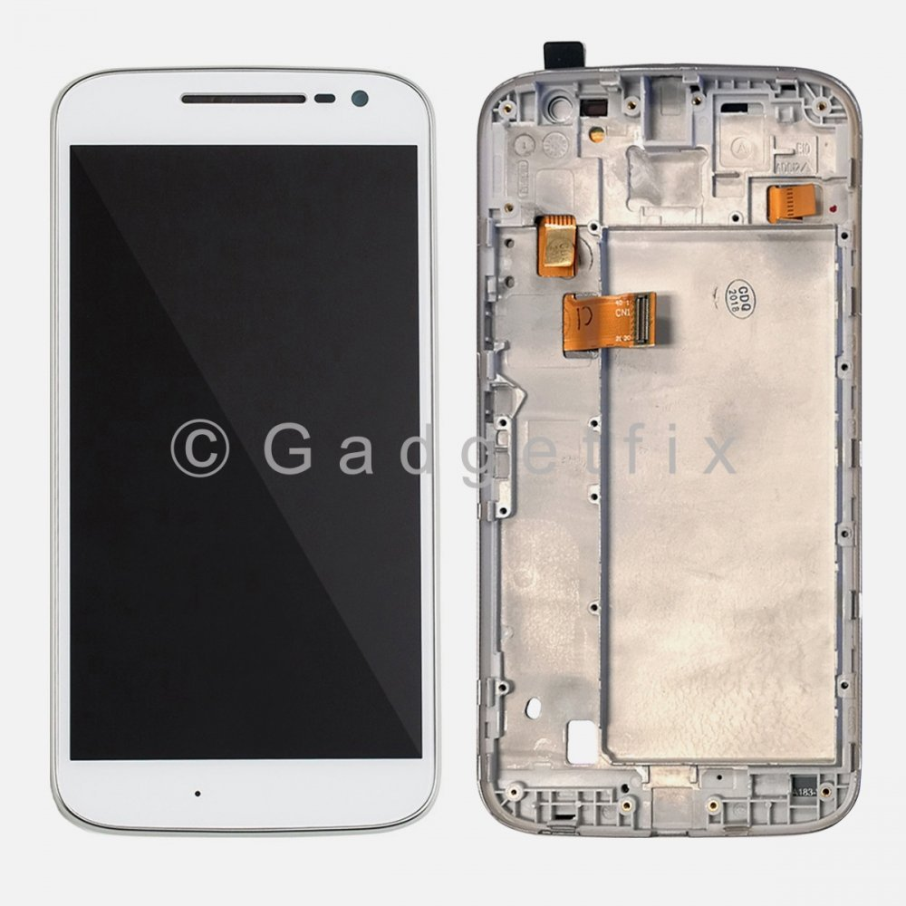 White Motorola Moto G4 LTE XT1625 Touch Screen Digitizer LCD Display + Frame