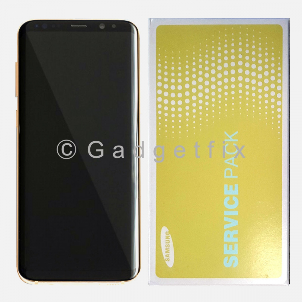 OEM Gold LCD Display Touch Screen Digitizer + Frame For Samsung Galaxy S8 Plus
