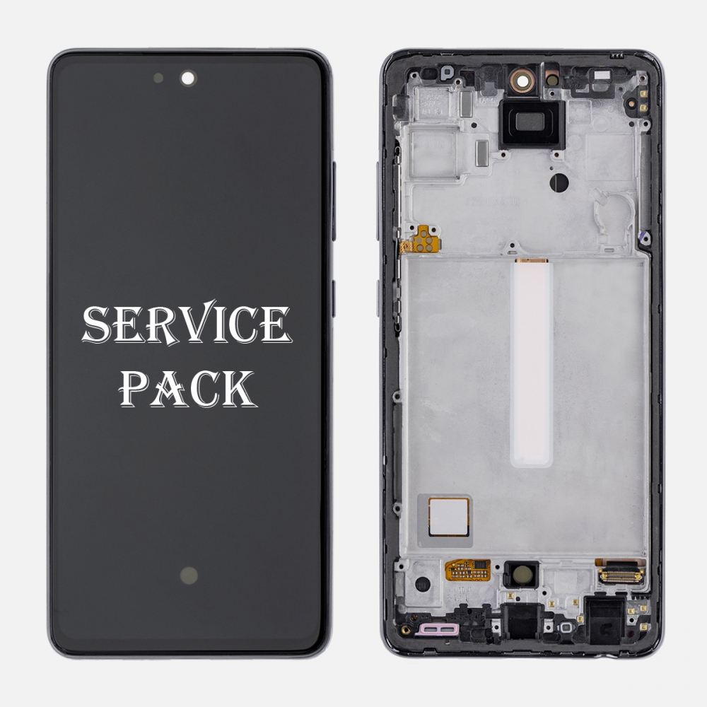 Black OLED Display LCD Touch Screen Digitizer Frame for Samsung Galaxy A52 A525 (Service Pack)