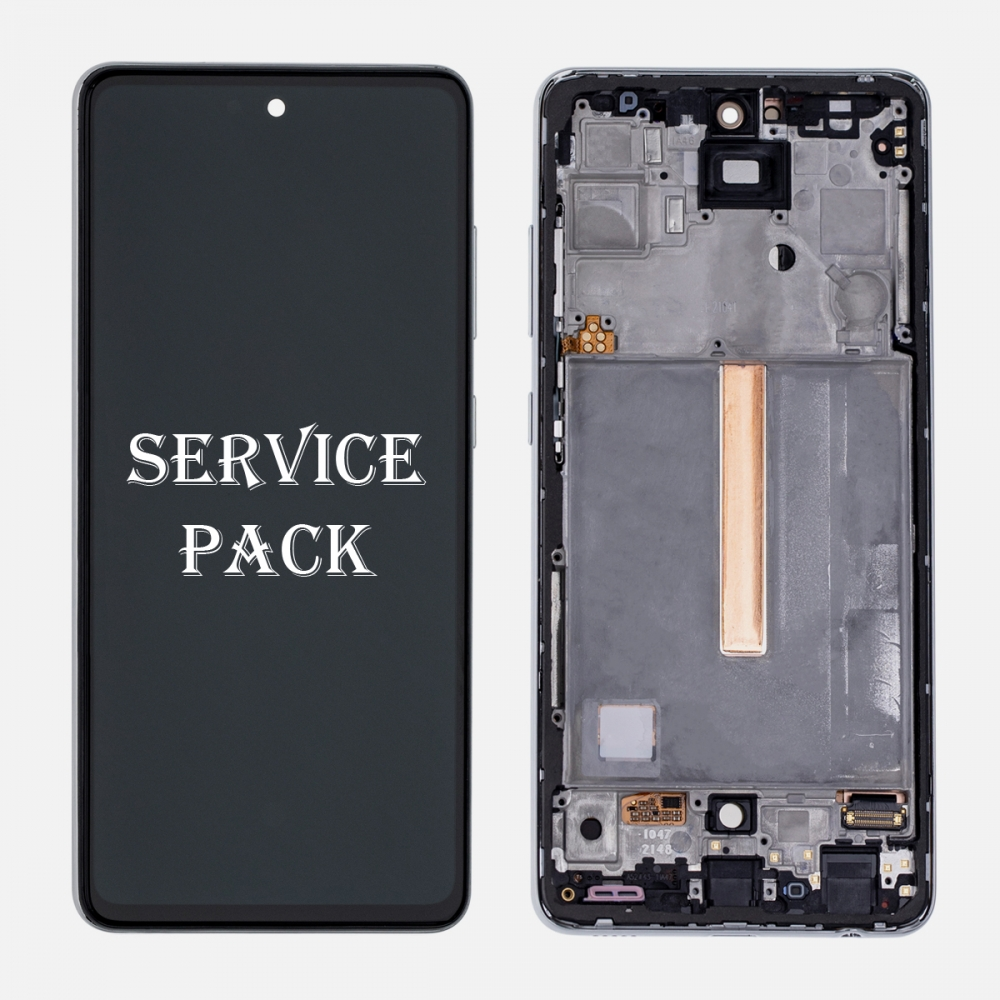 White OLED Display LCD Touch Screen Digitizer Frame for Samsung Galaxy A52 A525 (Service Pack)
