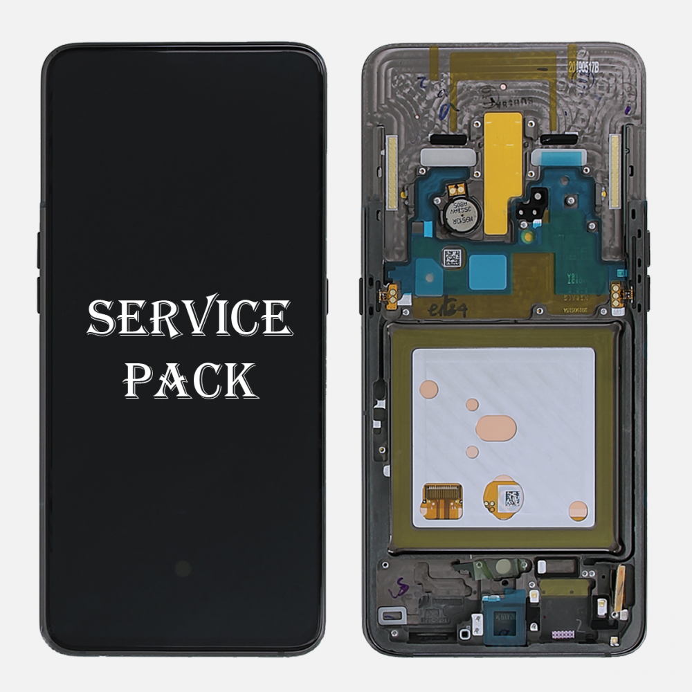 Black Amoled LCD Display Touch Screen Digitizer + Frame For Samsung Galaxy A80 A805 (Service Pack)
