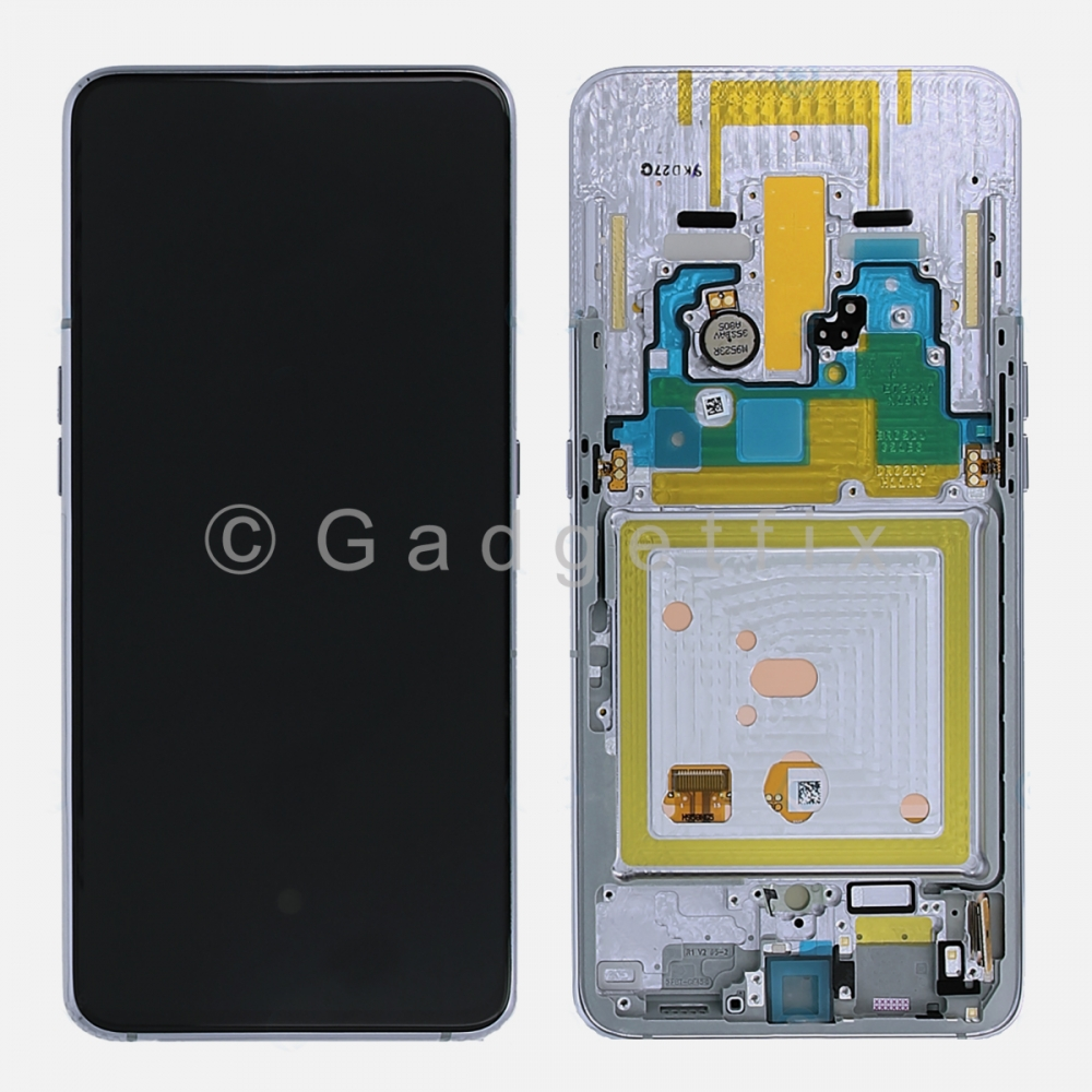 White Amoled LCD Display Touch Screen Digitizer + Frame For Samsung Galaxy A80 A805 2019