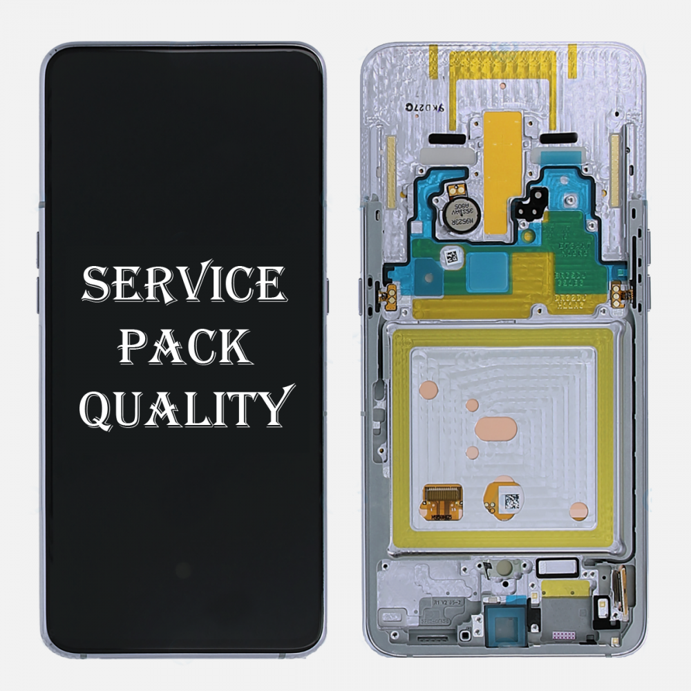 White Amoled LCD Display Touch Screen Digitizer + Frame For Samsung Galaxy A80 A805 (Service Pack)