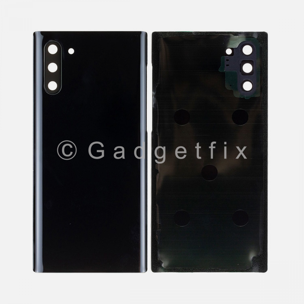 Black Back Cover Glass Battery Door Camera Lens + Adhesive for Samsung Galaxy Note 10