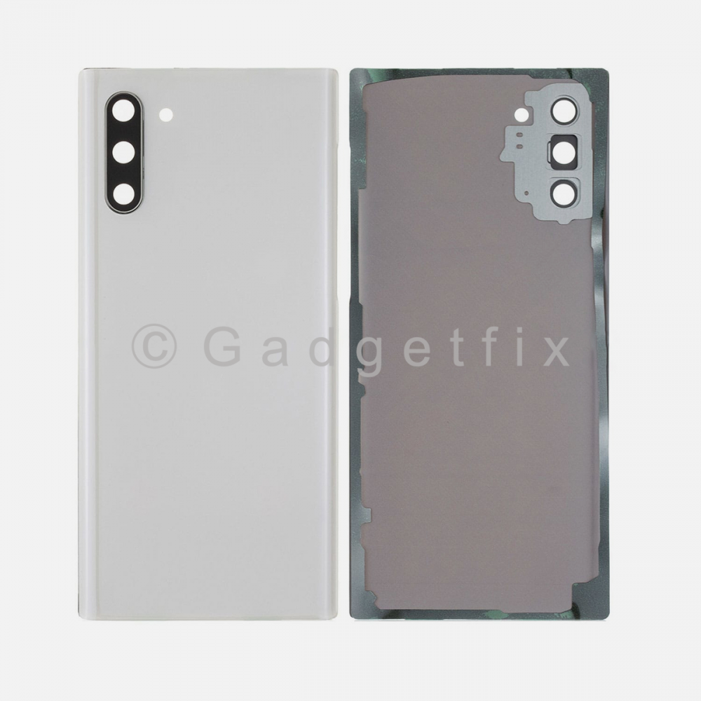 White Back Cover Glass Battery Door Camera Lens + Adhesive for Samsung Galaxy Note 10