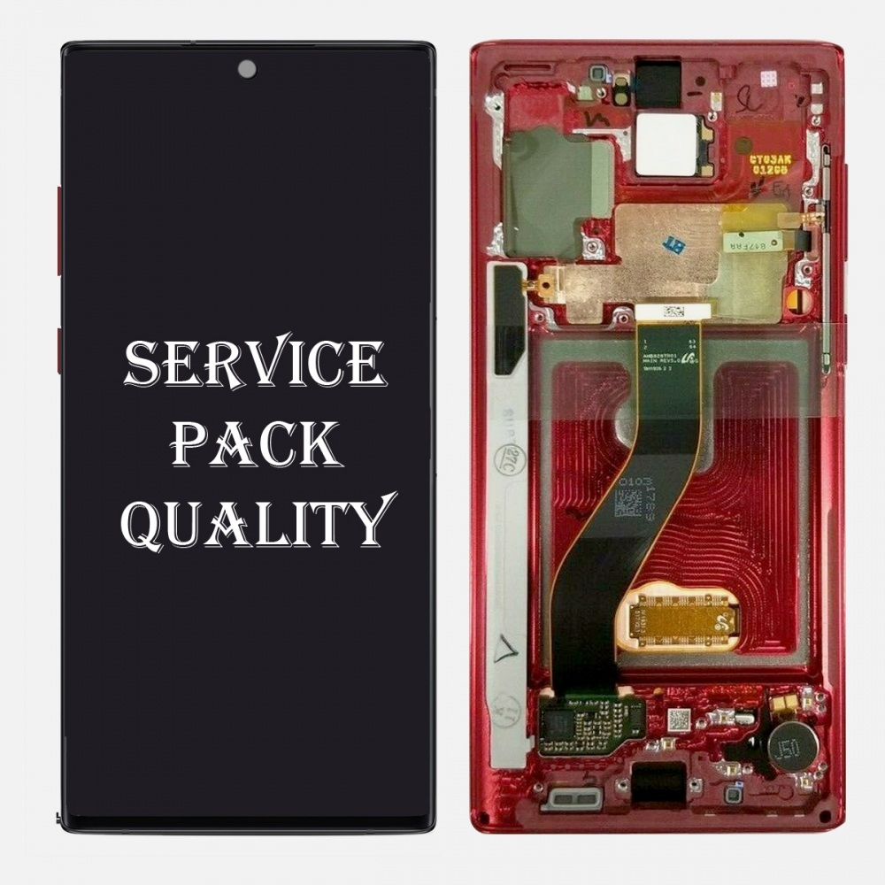 Red AMOLED LCD Touch Screen Digitizer + Frame For Samsung Galaxy Note 10 (Service Pack)