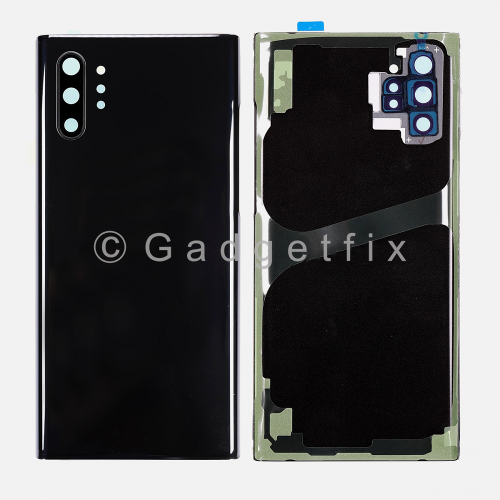 Black Back Cover Glass Battery Door Camera Lens + Adhesive for Samsung Galaxy Note 10 Plus