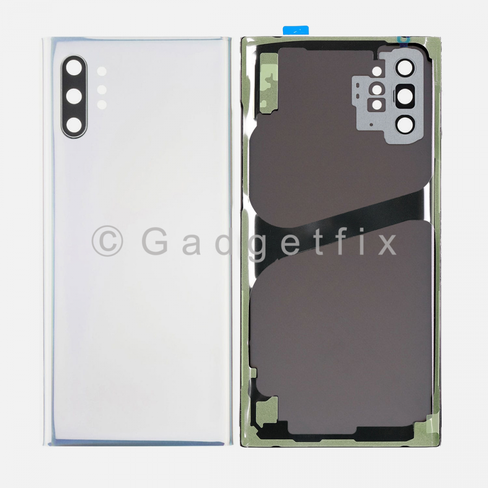 White Back Cover Glass Battery Door Camera Lens + Adhesive for Samsung Galaxy Note 10 Plus