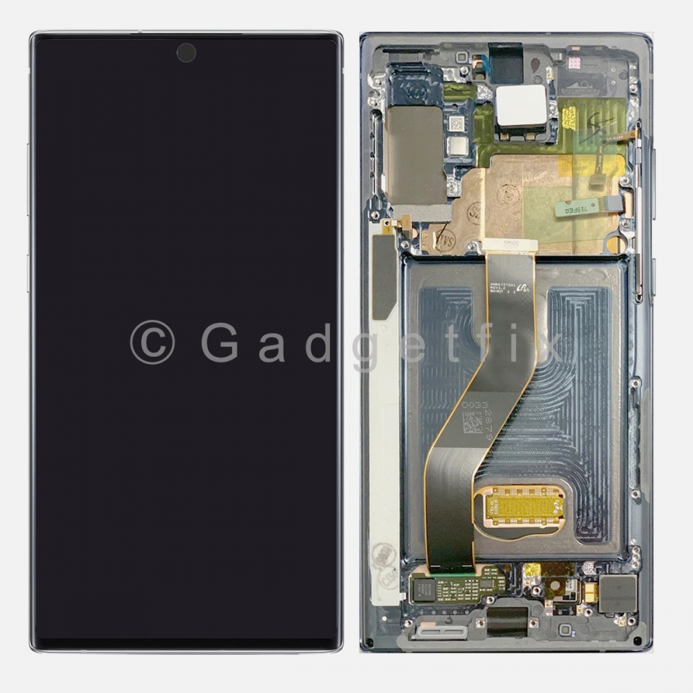 Aura White AMOLED LCD Touch Screen Digitizer + Frame For Samsung Galaxy Note 10+ Plus
