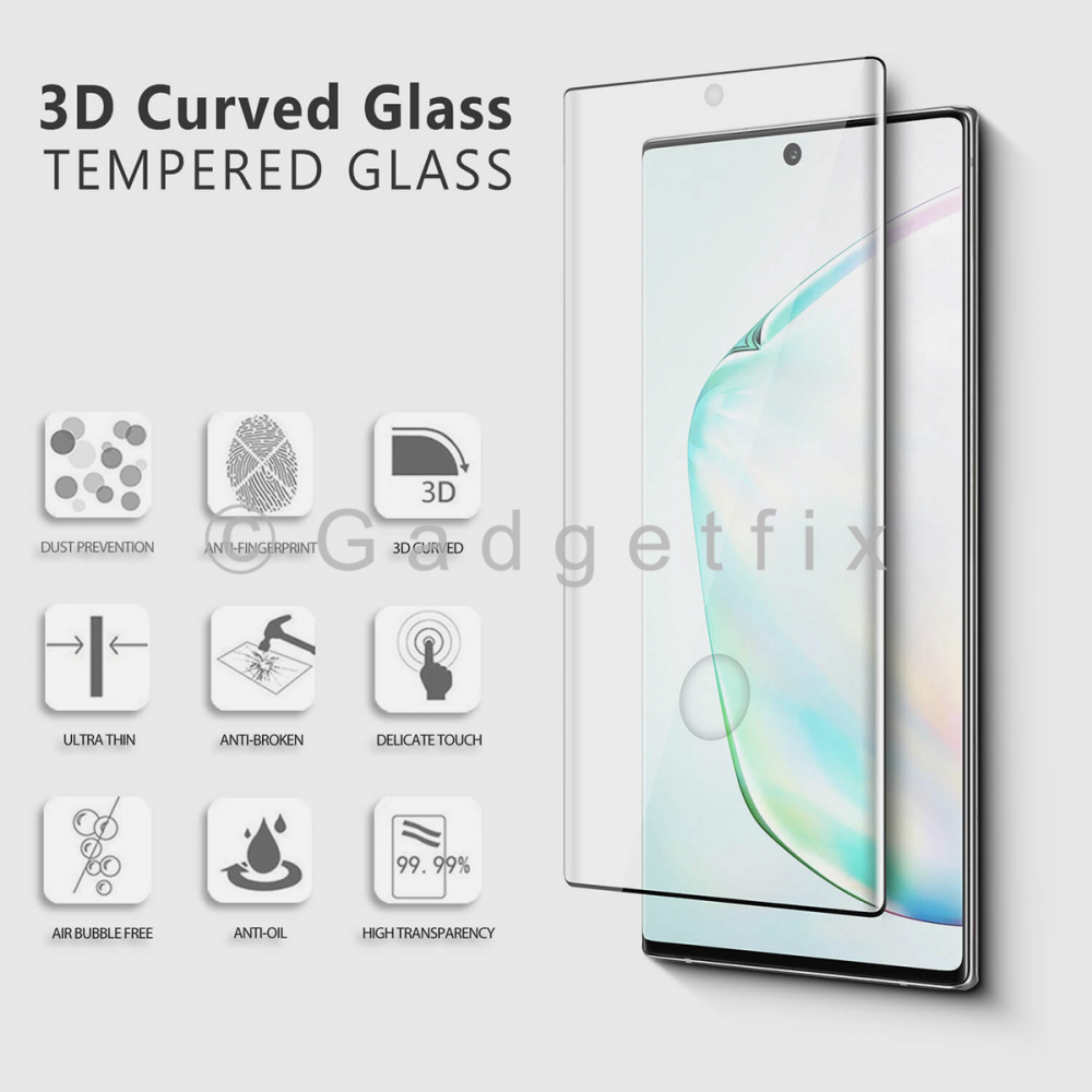 Tempered Glass Screen Protector For Samsung Galaxy Note 10+ Plus (Compatible w/ Fingerprint)