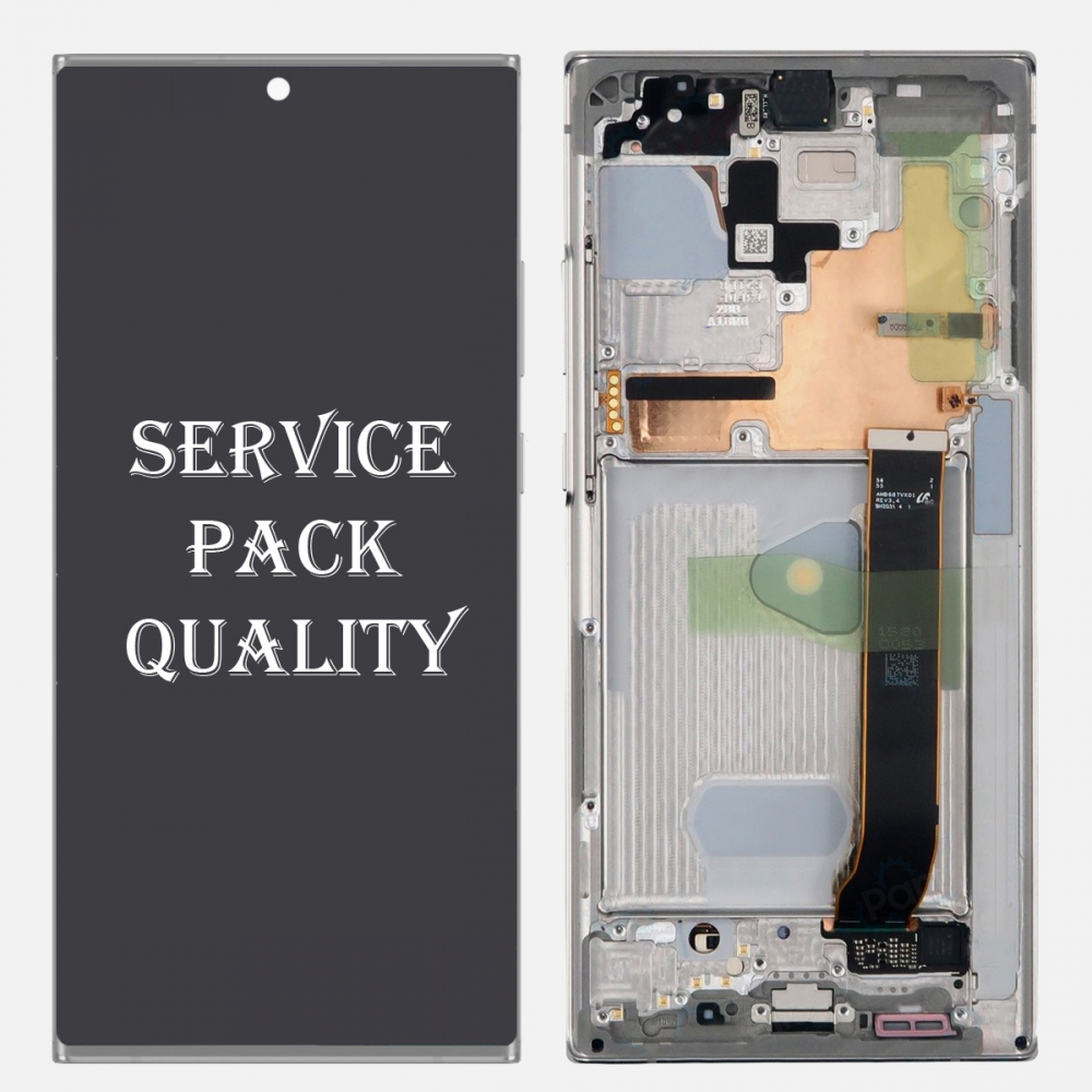 White Display LCD Touch Screen Digitizer Frame for Samsung Galaxy Note 20 Ultra (Service Pack)