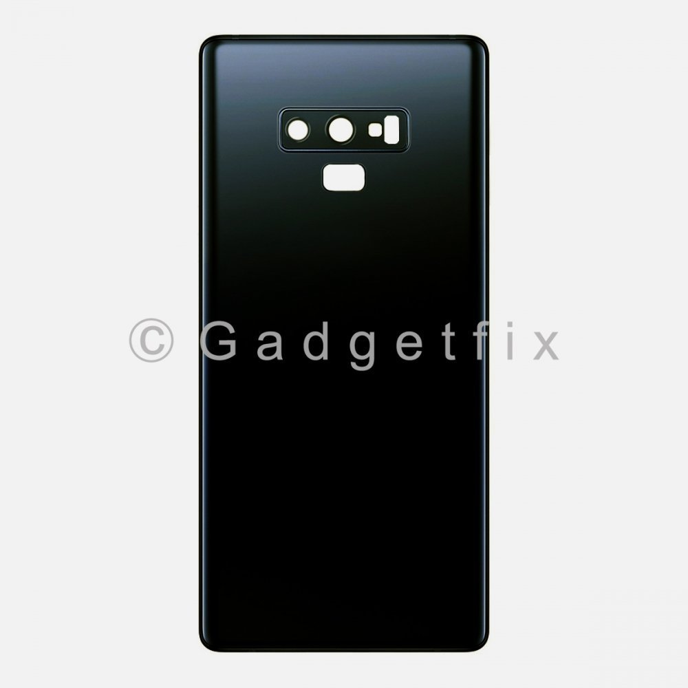Black Back Cover Glass Battery Door Camera Lens + Adhesive for Samsung Galaxy Note 9