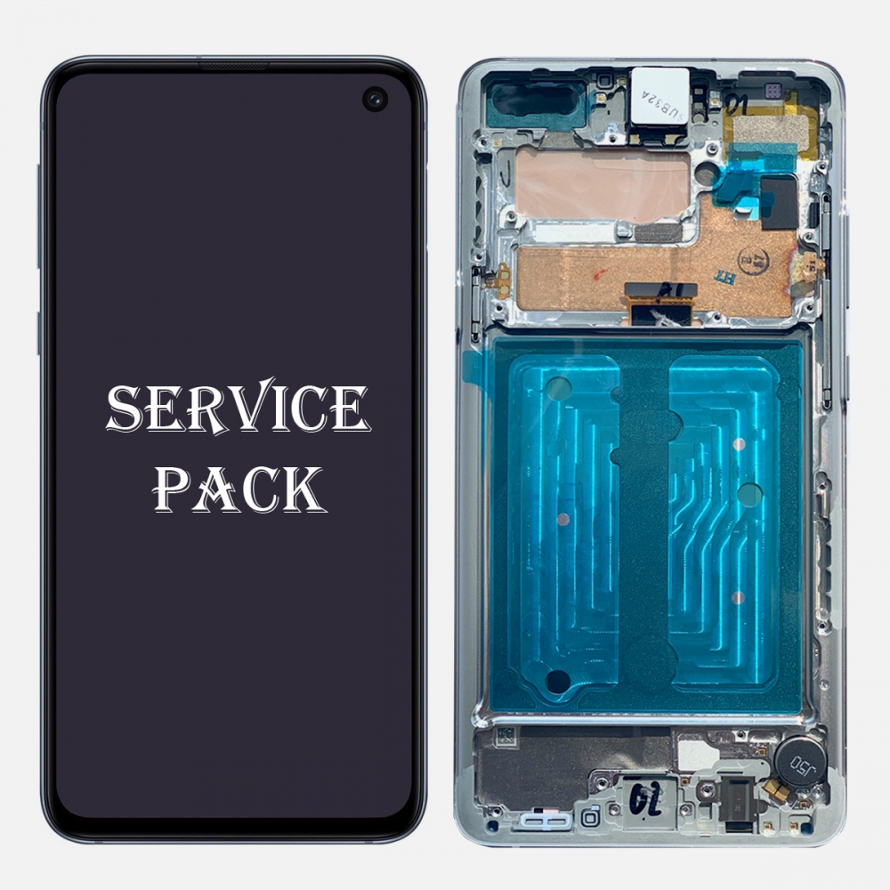 Silver AMOLED LCD Touch Screen Digitizer + Frame For Samsung Galaxy S10 5G (Service Pack)