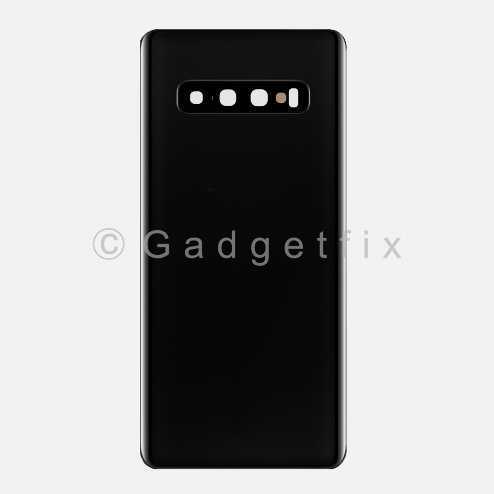 Prism Black Back Cover Glass Battery Door Camera Lens for Samsung Galaxy S10 Plus