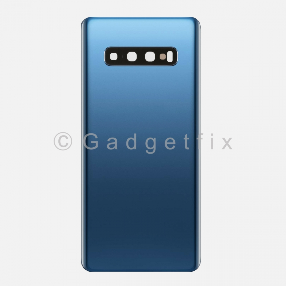 Blue Back Cover Glass Battery Door Camera Lens for Samsung Galaxy S10 Plus