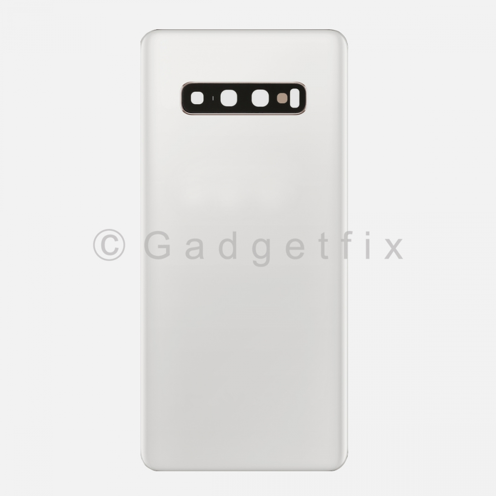 Prism White Back Cover Glass Battery Door Camera Lens for Samsung Galaxy S10