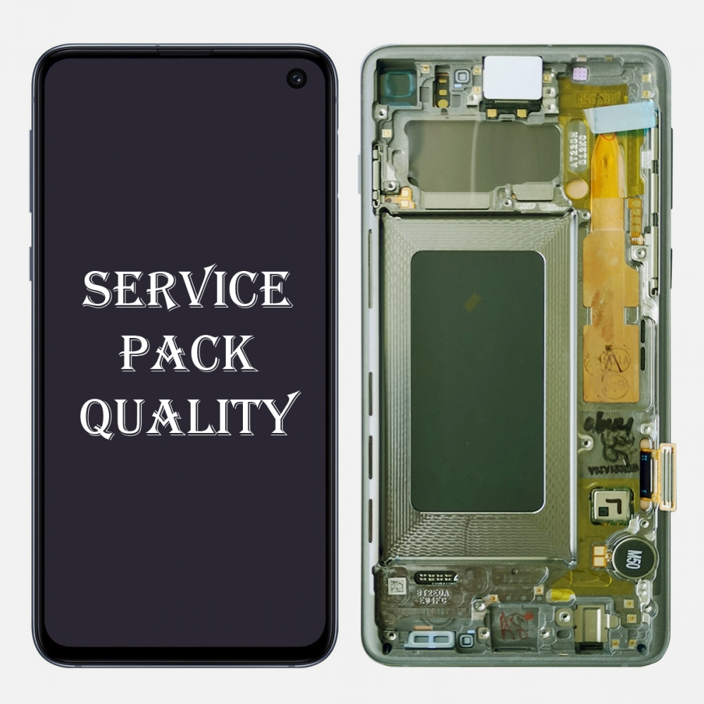 Green Amoled LCD Touch Screen Digitizer + Frame For Samsung Galaxy S10 (Service Pack)