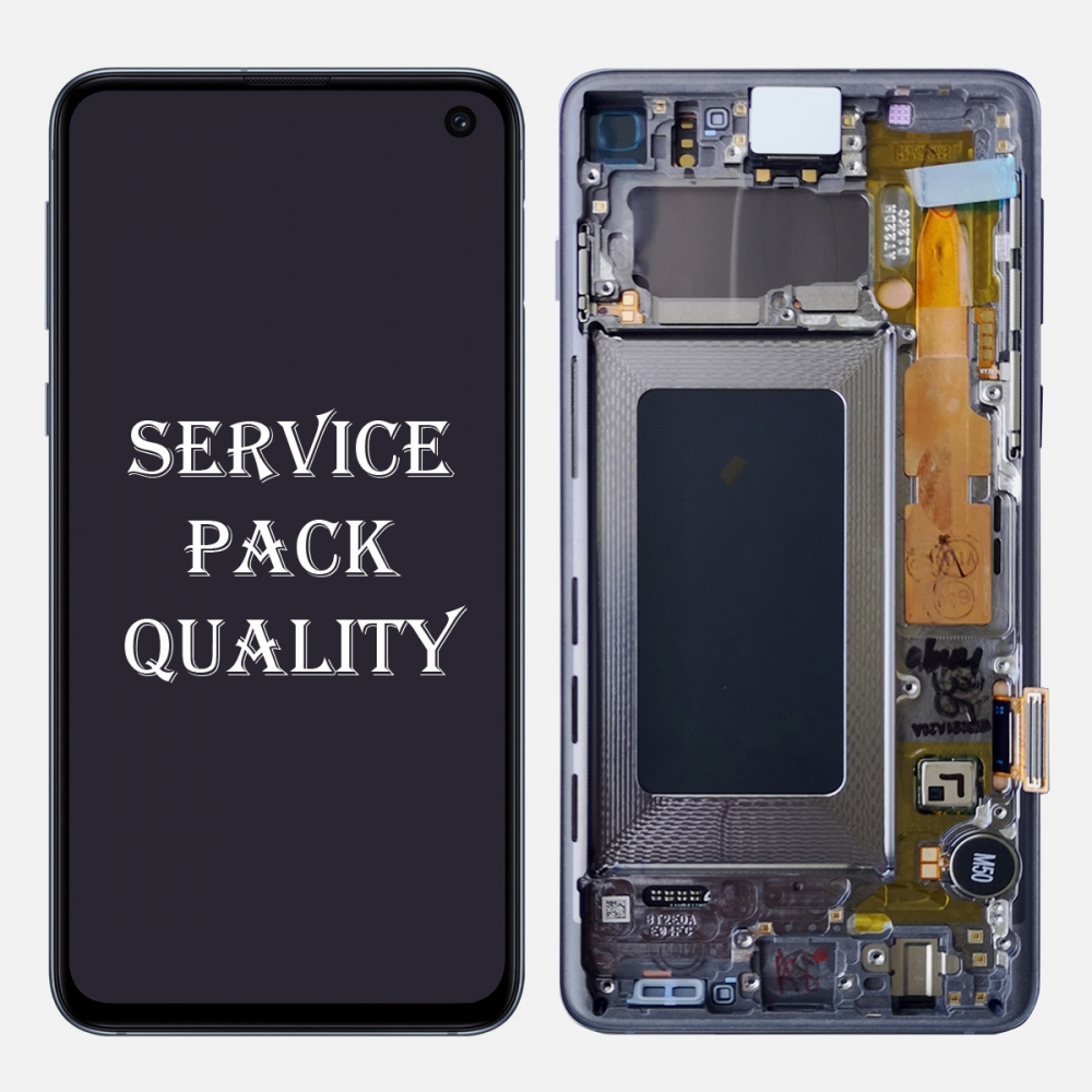 Black Amoled Display LCD Touch Screen Digitizer + Frame For Samsung Galaxy S10 (Service Pack)