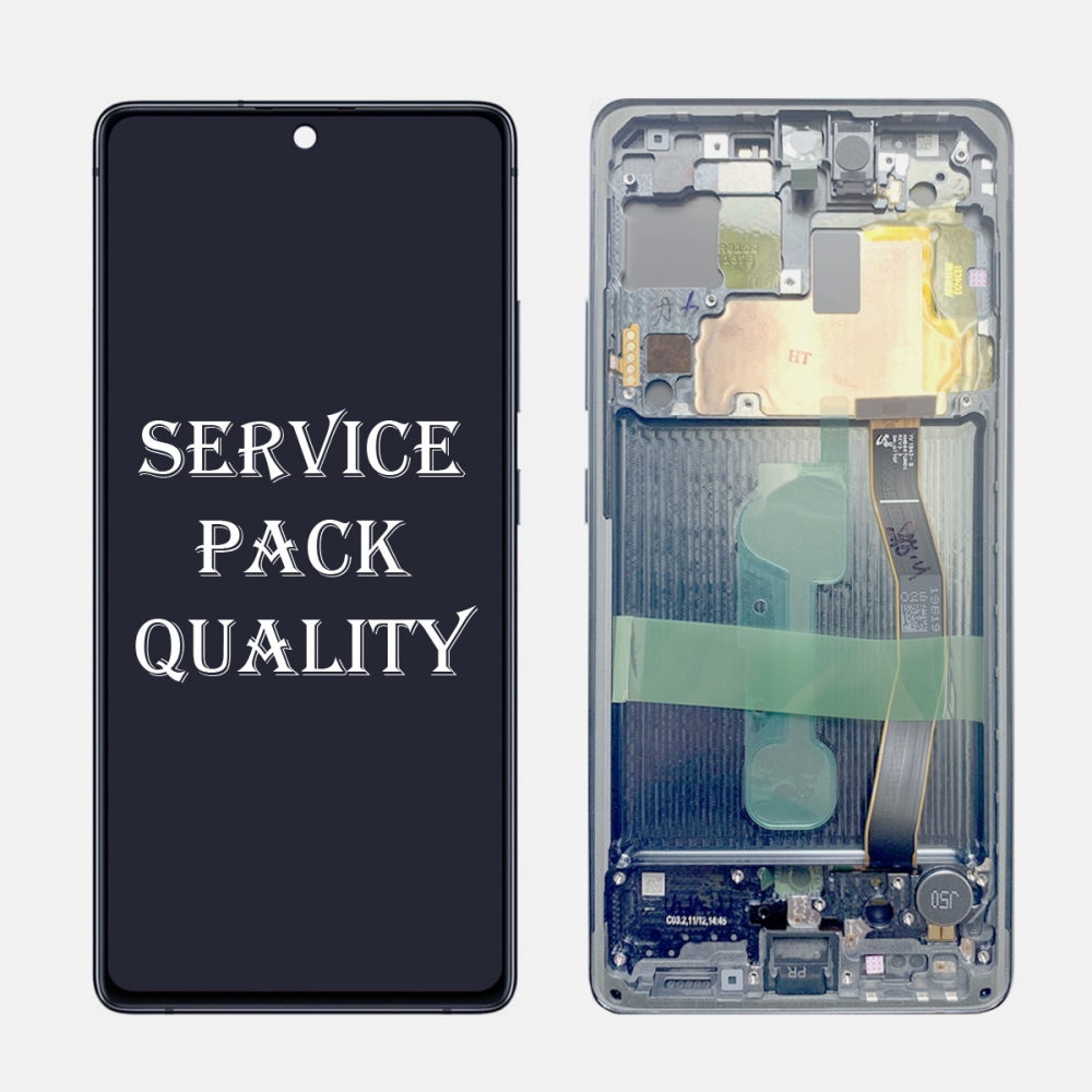 White Display LCD Touch Screen Digitizer Frame For Samsung Galaxy S10 Lite G770F/DS (Service Pack)