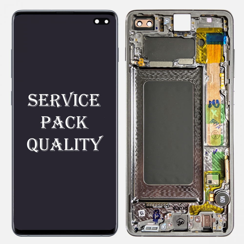 Prism Black Display LCD Touch Screen Digitizer Frame For Samsung Galaxy S10 Plus (Service Pack)