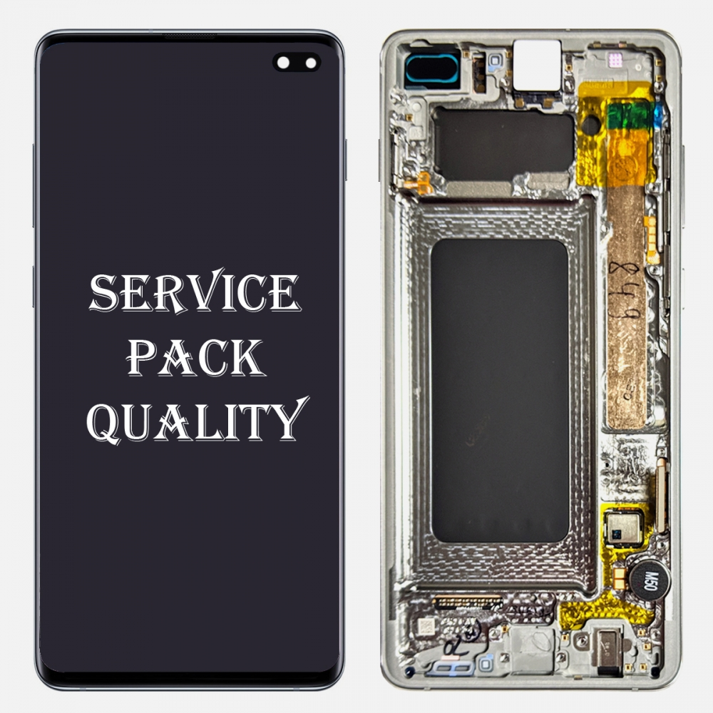 Ceramic White Display LCD Touch Screen Digitizer Frame For Samsung Galaxy S10 Plus (Service Pack)