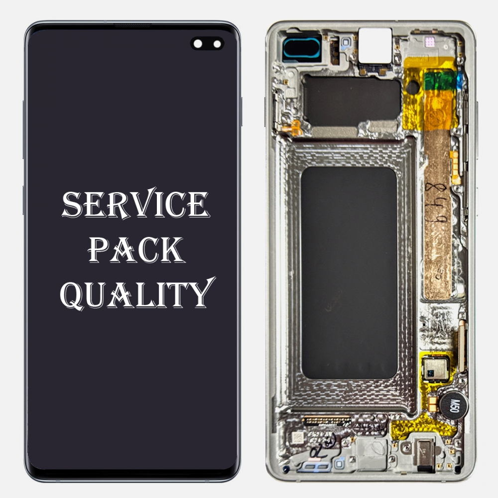 Prism White Display LCD Touch Screen Digitizer Frame For Samsung Galaxy S10 Plus (Service Pack)