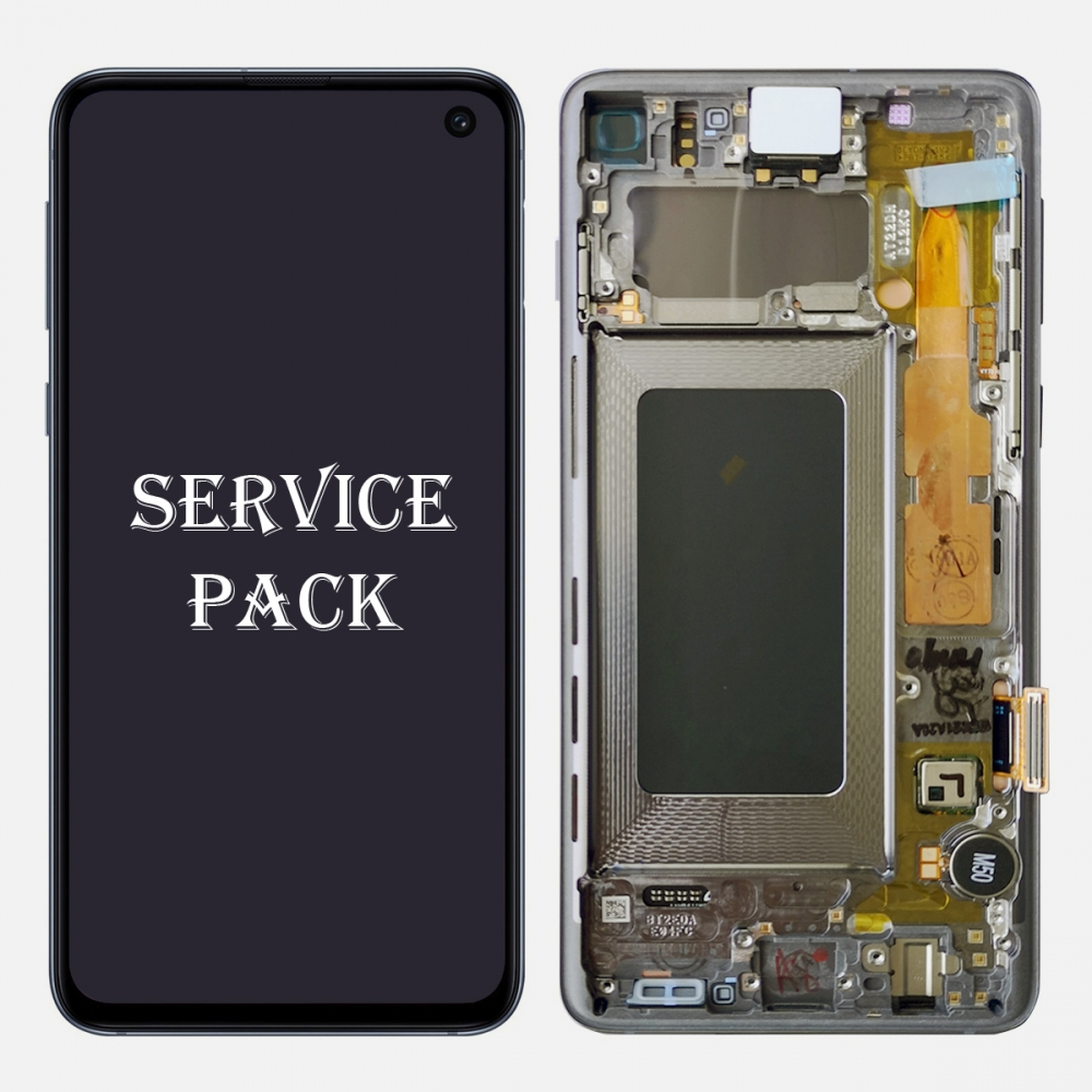 White Amoled Display LCD Touch Screen Digitizer + Frame For Samsung Galaxy S10 (Service Pack)