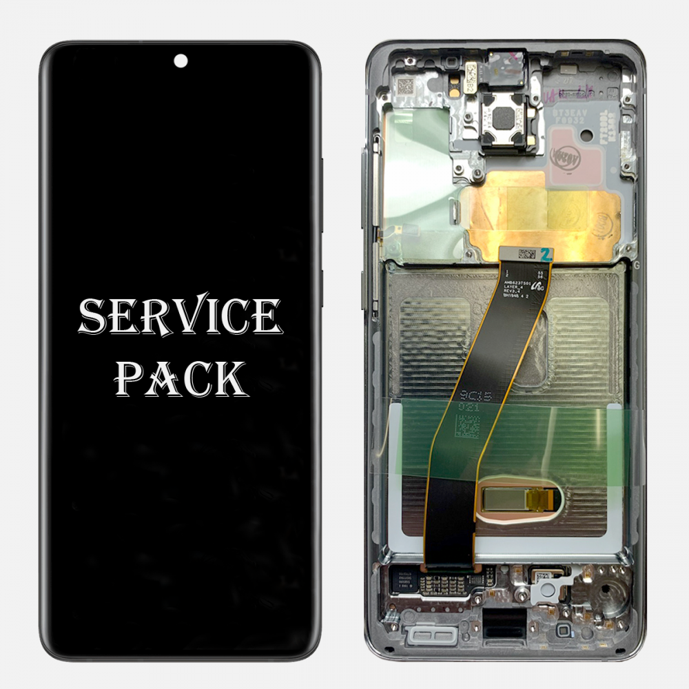 Gray Amoled LCD Touch Screen Digitizer + Frame For Samsung Galaxy S20+ 5G (Service Pack)