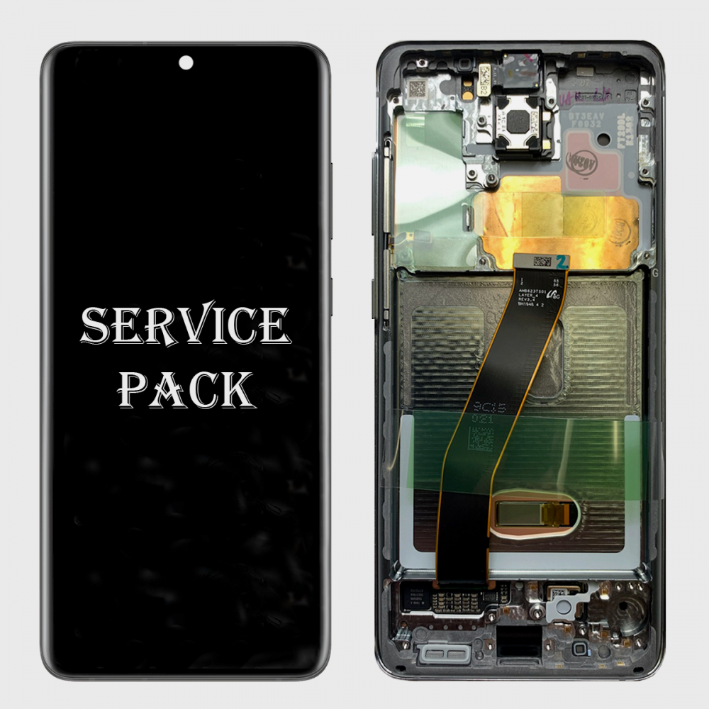 Black Amoled LCD Touch Screen Digitizer + Frame For Samsung Galaxy S20+ 5G (Service Pack)
