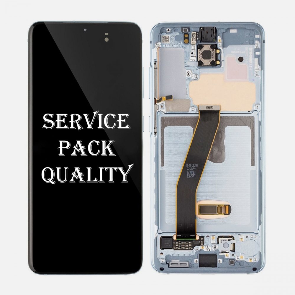 Blue Amoled LCD Touch Screen Digitizer + Frame For Samsung Galaxy S20 5G (Service Pack)