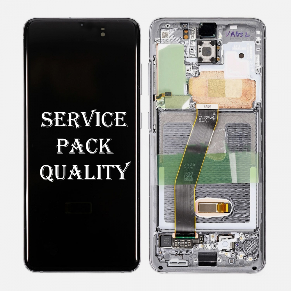 Gray Amoled LCD Touch Screen Digitizer + Frame For Samsung Galaxy S20 5G (Service Pack)