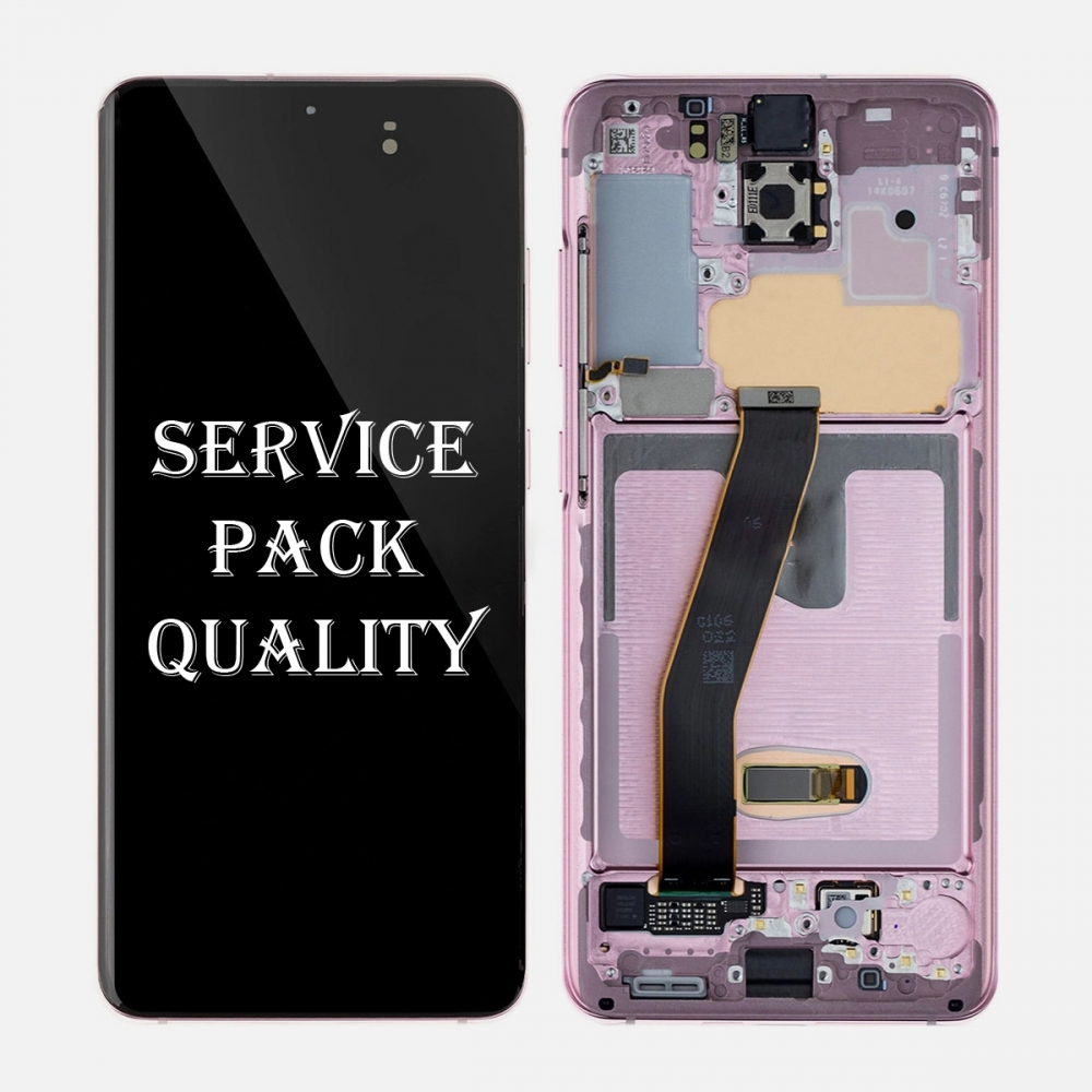 Pink Amoled LCD Touch Screen Digitizer + Frame For Samsung Galaxy S20 5G (Service Pack)