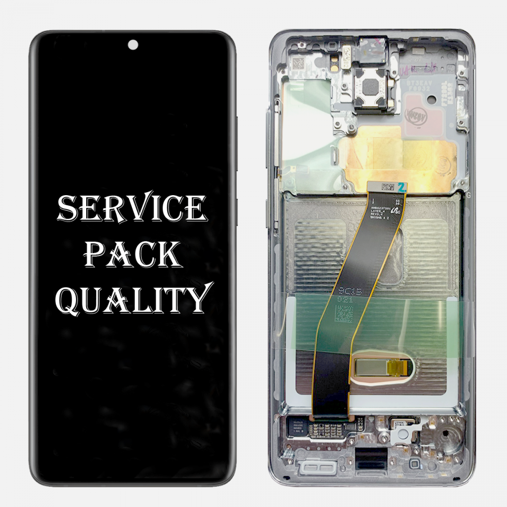 White Amoled LCD Touch Screen Digitizer + Frame For Samsung Galaxy S20 5G (Service Pack)
