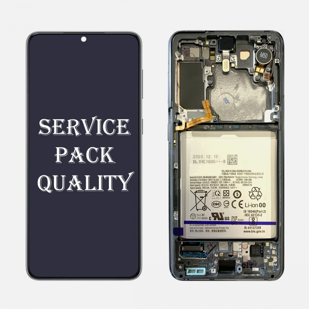 Gray OLED Display LCD Touch Screen Digitizer + Frame for Samsung Galaxy S21 5G (Service Pack)