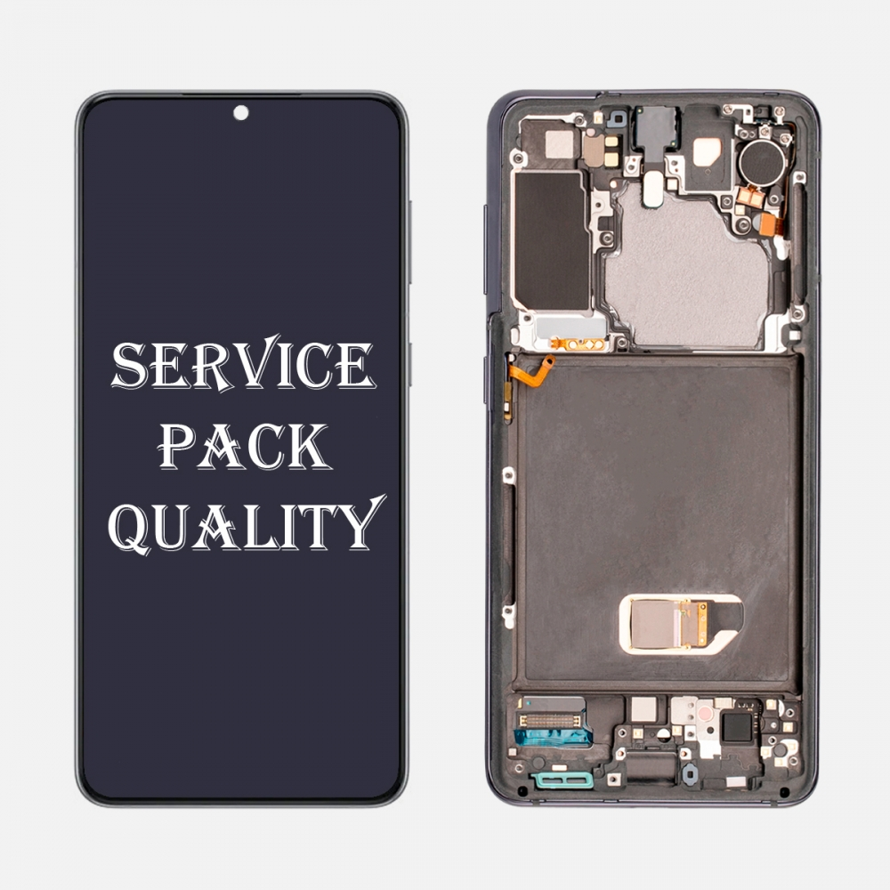 Gray OLED Display LCD Touch Screen Digitizer Frame for Samsung Galaxy S21 5G (Service Pack)