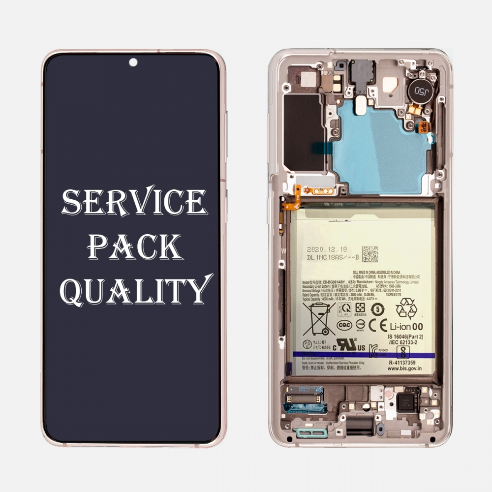 Pink OLED Display LCD Touch Screen Digitizer + Frame for Samsung Galaxy S21 5G (Service Pack)