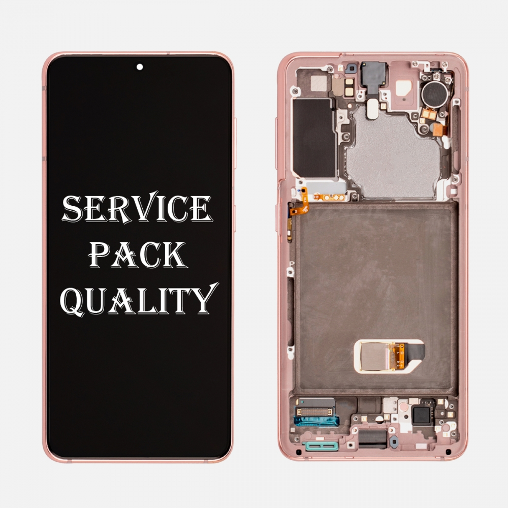 Pink OLED Display LCD Touch Screen Digitizer Frame for Samsung Galaxy S21 5G (Service Pack)
