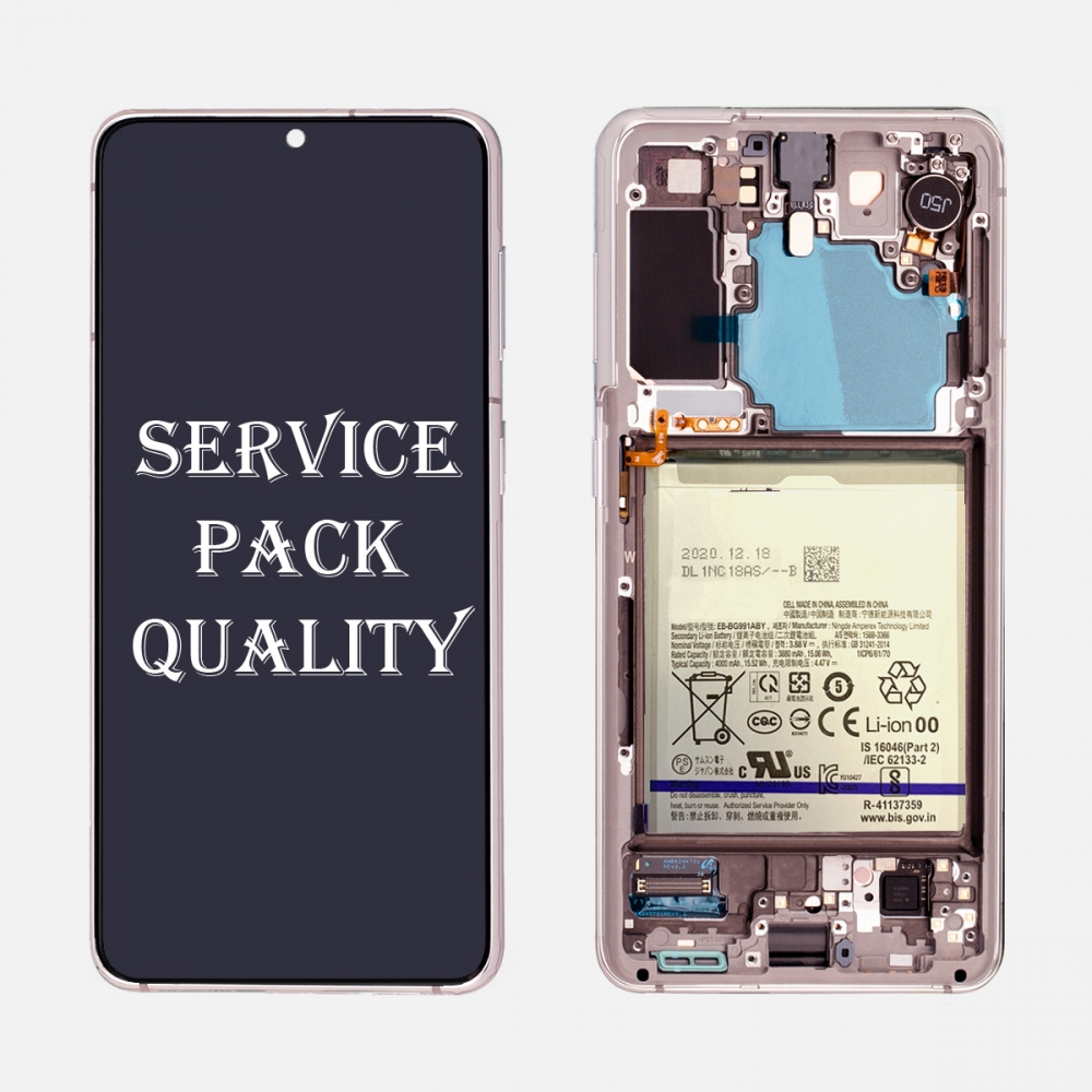 Violet OLED Display LCD Touch Screen Digitizer + Frame for Samsung Galaxy S21 5G (Service Pack)
